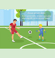 flat banner dad teaches kid play football vector image vector image