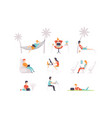 flat set people with laptops men and vector image vector image