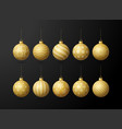 gold christmas tree toy oe balls set isolated vector image
