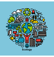 Green ecology and environment flat line icons set vector image vector image