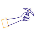 hand human with pick mine tool icon vector image vector image