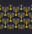 hanukkah seamless pattern candlestick with nine vector image vector image