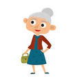 happy senior lady with silver hair with bag vector image