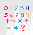Kids number drawn by a crayon vector image