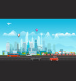 landscape with buildings mountains and vehicles vector image vector image