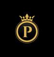 letter p royal crown luxury logo design vector image vector image