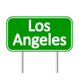 Los Angeles green road sign vector image vector image