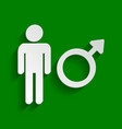 male sign paper whitish icon vector image