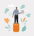 man stand on stack on money vector image vector image