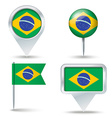 Map pins with flag of Brazil vector image vector image