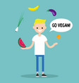 modern lifestyle go vegan young blond boy vector image vector image