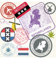 netherlands travel stamps set - holland journey vector image vector image