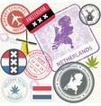 netherlands travel stamps set - holland journey vector image