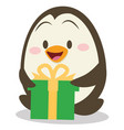penguin with gift design vector image
