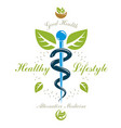 pharmacy caduceus icon medical logo for use in vector image
