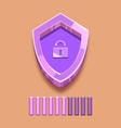 purple shield with lock and loading strip vector image