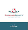 red and white fishing bobber logo design vector image vector image