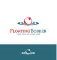 Red and white fishing bobber logo design