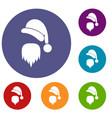 santa claus hat and beard icons set vector image vector image