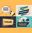 set four different designs requesting feedback vector image