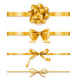 set golden ribbons with bows decoration vector image vector image