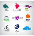 set of art logos gallery art school vector image