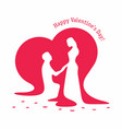 silhouettes of loving couple on background of big vector image vector image