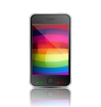 smart phone with rainbow background vector image