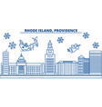 usa rhode island providence winter city skyline vector image