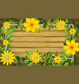 yellow flower on wooden frame vector image