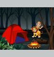 zookeeper boy and a lion at night campsite vector image vector image