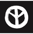 White peace symbol created in grunge style vector image