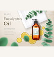 3d spray bottle with eucalyptus oil blob branch vector image