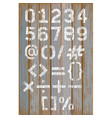 alphabet number white color paint on wood vector image vector image