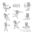 Athlete hand drawn set vector image vector image