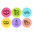 bus tour rocket and bicycle icons set parking vector image vector image