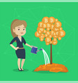 business woman watering tree with bitcoin coins vector image vector image