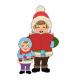 cartoon man and son choir singing for christmas vector image vector image