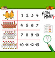 chicken counting game cartoon vector image vector image