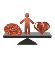 choice between heart and mind vector image vector image