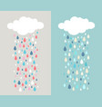 cloud and colourful raindrops vector image vector image