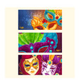 collection of cartoon banners with carnival masks vector image vector image