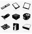 Computer components vector image vector image