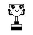 contour kawaii cute happy prize cup vector image vector image