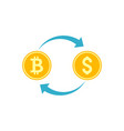 cryptocurrency exchange icon vector image
