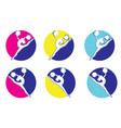 dance logo simple modern girl jumps vector image