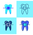 dental braces icon set in flat and line style vector image vector image