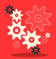 Flat Design Cogs - Gears in Retro Style on R vector image