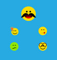 flat icon emoji set of frown cheerful delicious vector image vector image