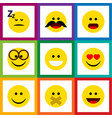 flat icon face set of wonder asleep grin and vector image vector image